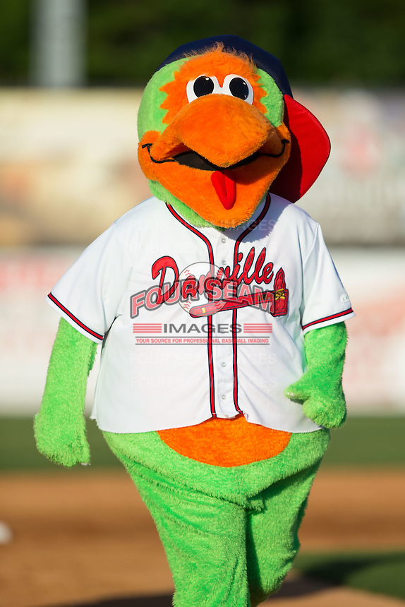 Danville Braves mascot Blooper during the game against the Kingsport Mets at American Legion Post 325 Field on July 9, 2016 in Danville, Virginia.  The Mets defeated the Braves 10-8.  (Brian Westerholt/Four Seam Images)