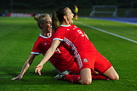 Kayleigh Green of Wales Women's' celebrates scoring the opening goal during the Women's International Friendly match between Wales and New Zealand at the Cardiff International Sports Stadium in Cardiff, Wales, UK. Tuesday 04 June, 2019