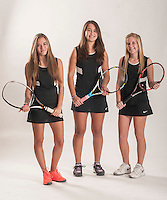 NWA Democrat-Gazette/ANTHONY REYES • @NWATONYR<br /> Adriana Canigova (from left) Taylor Cheung-Damonte and Bessie Sullivan, all of Bentonville, Wednesday, Dec. 2, 2015 at the Northwest Arkansas Democrat Gazette office in Springdale. Canigova is the singles tennis player of the year and Sullivan and Cheung-Damonte is the doubles players of the year.