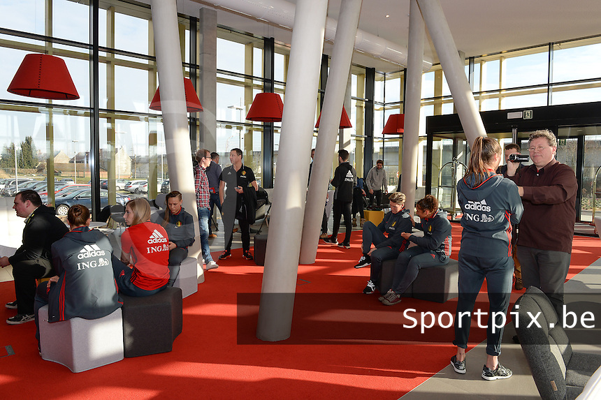20170118 - TUBIZE , Belgium : illustration picture of a press conference of the Belgian national women's soccer team Red Flames during their winter camp, on the 18 th of January in Tubize. PHOTO DIRK VUYLSTEKE   Sportpix.be