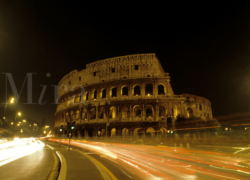 Roma Rome Italy the world famous Colosseum ruins in the center of the city at nigh