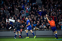 France's Remy Grosso scores during the Steinlager Series international rugby match between teh New Zealand All Blacks and France at Eden Park in Auckland, New Zealand on Saturday, 9 June 2018. Photo: Dave Lintott / lintottphoto.co.nz