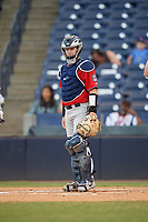 Fort Myers Miracle catcher Caleb Hamilton (20) during a game against the Tampa Tarpons on May 2, 2018 at George M. Steinbrenner Field in Tampa, Florida.  Fort Myers defeated Tampa 5-0.  (Mike Janes/Four Seam Images)