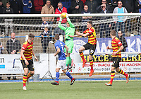 Jack Leighfield saves in the SPFL Ladbrokes Championship football match between Queen of the South and Partick Thistle at Palmerston Park, Dumfries on  4.5.19.