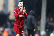 17th March 2019, Craven Cottage, London, England; EPL Premier League football, Fulham versus Liverpool; Andrew Robertson of Liverpool celebrates the 1-2 win