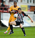 MOTHERWELL'S CHRIS HUMPHREY AND PARS AUSTIN MCCANN CHALLENGE FOR THE BALL