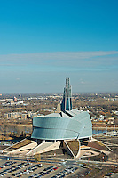 Aerial view of Canadian Museum for Human Rights (CMHR) in late autumn (fall). <br /> Winnipeg<br /> Manitoba<br /> Canada