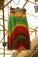 Skirt in Kurdish nationalist colours in covered market, Diyarbakir, southeastern Turkey