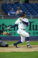 Blake Perkins (22) of the Wilmington Blue Rocks follows through on his swing against the Fayetteville Woodpeckers at Frawley Stadium on June 6, 2019 in Wilmington, Delaware. The Woodpeckers defeated the Blue Rocks 8-1. (Brian Westerholt/Four Seam Images)