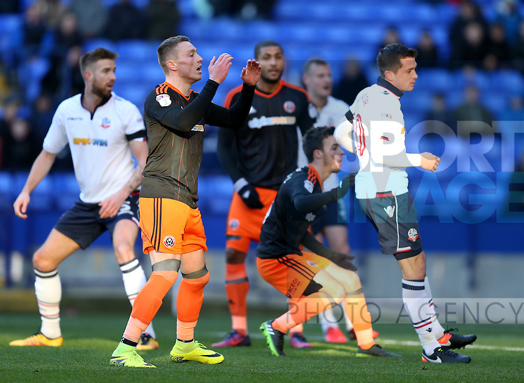 Caolan Lavery of Sheffield Utd reacts to a missed chance during the FA Cup Second round match at the Macron Stadium, Bolton. Picture date: December 4th, 2016. Pic Simon Bellis/Sportimage