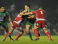 23rd November 2013; Jake Heenan, Connacht, is tackled by Aled Thomas and Phil John, Scarlets. Rabodirect Pro12, Connacht v Scarlets, Sportsground, Galway. Picture credit: Tommy Grealy/actionshots.ie.