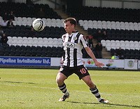 in the St Mirren v Hibernian Clydesdale Bank Scottish Premier League match played at St Mirren Park, Paisley on 29.4.12.