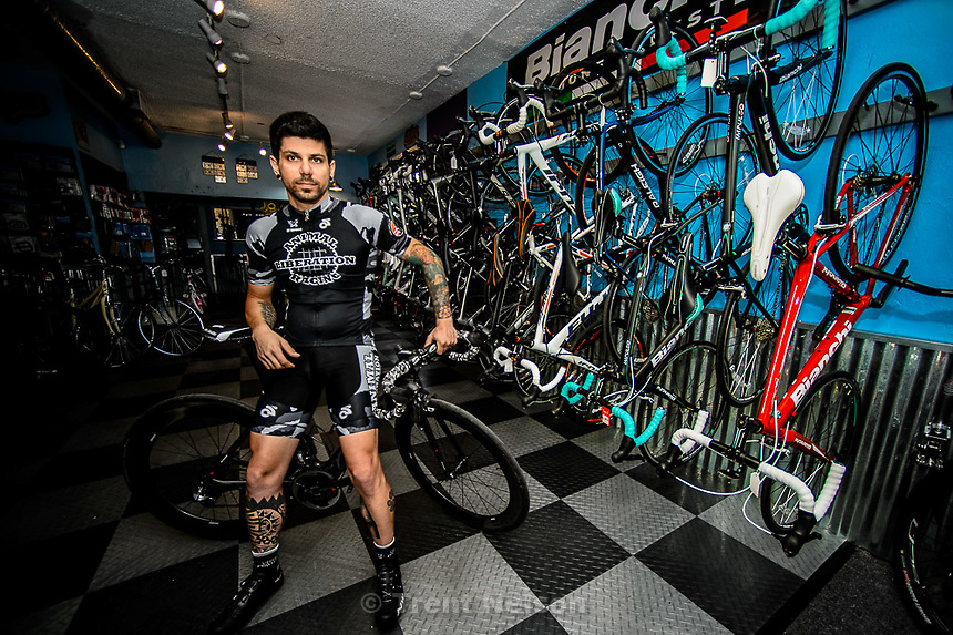 Trent Nelson  |  The Salt Lake Tribune<br /> <br /> please get a shot of owner Cristiano Pereira, story is about his new bike shop and also his charity in which he creates jerseys and donates them to various causes. The story will focus a lot on these jerseys.<br /> <br /> , Tuesday June 23, 2015.