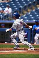 Midland RockHounds outfielder Jaycob Brugman (9) at bat during a game against the Tulsa Drillers on June 3, 2015 at Oneok Field in Tulsa, Oklahoma.  Midland defeated Tulsa 5-3.  (Mike Janes/Four Seam Images)