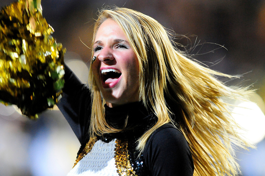 04 October 2008: A Colorado cheerleader performs at halftime of a game against Texas. The Texas Longhorns defeated the Colorado Buffaloes 38-14 at Folsom Field in Boulder, Colorado. For Editorial Use Only