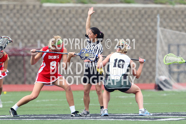 San Diego, CA 05/21/11 - Kaitlyn Couture (Coronado #18) and Skylar Brown (Cathedral Catholic #9) in action during the 2011 CIF San Diego Division 2 Girls lacrosse finals between Cathedral Catholic and Coronado.
