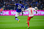 16.03.2019, VELTINS Arena, Gelsenkirchen, Deutschland, GER, 1. FBL, FC Schalke 04 vs. RB Leipzig<br /> <br /> DFL REGULATIONS PROHIBIT ANY USE OF PHOTOGRAPHS AS IMAGE SEQUENCES AND/OR QUASI-VIDEO.<br /> <br /> im Bild Zweikampf zwischen Salif Sane (#26 Schalke) und Yussuf Yurary Poulsen (#9 Leipzig)<br /> <br /> Foto © nordphoto / Kurth