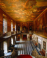A view into the Painted Hall which features the work of Louis Laguerre depicting the life of Julius Caesar, 1692-4