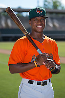 Jalen Miller (5) of the Augusta GreenJackets poses for a photo prior to the game against the Kannapolis Intimidators at Intimidators Stadium on May 30, 2016 in Kannapolis, North Carolina.  The GreenJackets defeated the Intimidators 5-3.  (Brian Westerholt/Four Seam Images)