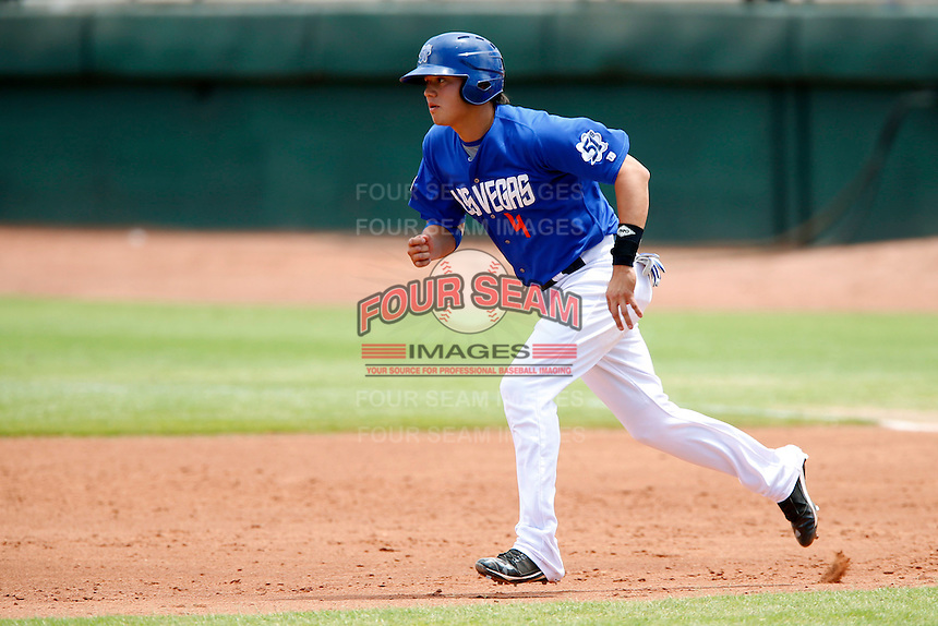 Wilmer Flores #4 of the Las Vegas 51s runs the bases during a game against the Salt Lake Bees at Cashman Field on May 27, 2013 in Las Vegas, Nevada. Las Vegas defeated Salt Lake, 9-7. (Larry Goren/Four Seam Images)