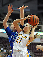 Archbishop Wood's Bailey Greenberg #21 drives for the net as Villa Maria's Sydney Palermo #44 defends in the first quarter of the girls basketball PIAA Class AAA state championship game Saturday March 19, 2016 at the Giant Center in Hershey, Pennsylvania (Photo By William Thomas Cain)