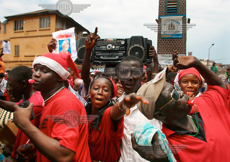 Election rally in the streets of Freetown prior to elections. Sierra Leone.