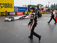 Nov 12, 2017; Pomona, CA, USA; NHRA top fuel driver Steve Torrence reacts after losing the championship during the Auto Club Finals at Auto Club Raceway at Pomona. Mandatory Credit: Mark J. Rebilas-USA TODAY Sports
