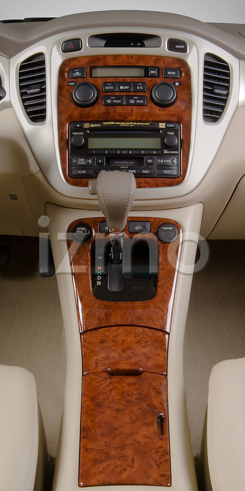 Vertical center console view of a Toyota Highlander Hybrid 2006
