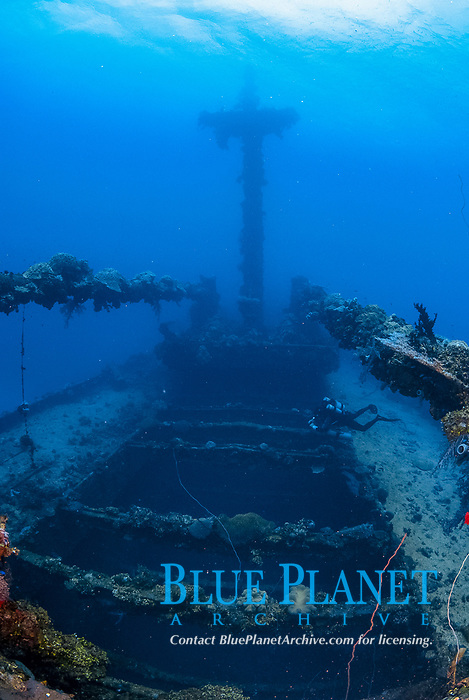 Diver, rebreather, encrusted, Upper deck, Hold, mast, coral reef senic, super structure, coral, Tree Coral, Dendronephthya sp., Operation Hailstone, Wreck, WWII, Japanese shipwreck, Chuuk, Micronesia, Truk, Chuuk Lagoon, Pacific Ocean, MR,