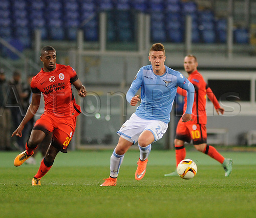 25.02.2016. Stadio Olimpico, Rome, Italy. Uefa Europa League, Return leg of SS Lazio versus Galatasaray. Sergej Milinkovic-Savic in action