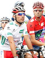Alejandro Valverde (r) and Joaquin Purito Rodriguez during the stage of La Vuelta 2012 between Barakaldo and Valdezcaray.August 21,2012. (ALTERPHOTOS/Acero) /NortePhoto.com