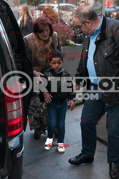 Cristiano Ronaldo Jr and Maria Dolores dos Santos attend Jorge Mendes´s book presentation in Madrid, Spain. January 22, 2015. (ALTERPHOTOS/Victor Blanco) /NortePhoto<br /> NortePhoto.com