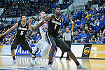 December 19, 2016:  Colorado forward, Wesley Gordon #1, dominates the lane during the NCAA basketball game between the University of Colorado Buffaloes and the Air Force Academy Falcons, Clune Arena, U.S. Air Force Academy, Colorado Springs, Colorado.  Colorado defeats Air Force 75-68.