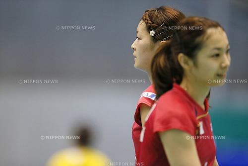 (L-R) Sayaka Takahashi, Misaki Matsutomo (JPN), June 14, 2014 - Badminton : Yonex Open Japan 2014 Women's Doubles semi final at Tokyo Metropolitan Gymnasium, Tokyo, Japan. (Photo by Yusuke Nakanishi/AFLO SPORT) [1090]