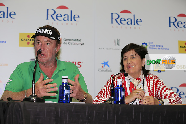 Miguel Angel Jimenez (ESP) press conference during Wednesday's Pro-Am of the 2014 Open de Espana held at the PGA Catalunya Resort, Girona, Spain. Wednesday 14th May 2014.<br /> Picture: Eoin Clarke www.golffile.ie