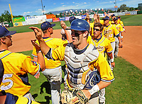 May 31, 2010; Grand Junction, CO, USA; Southern Nevada Coyotes catcher Bryce Harper celebrates with teammates following the game against Faulkner State Sun Chiefs during the Junior College World Series as Suplizio Field. Southern Nevada won the game 18-1. Mandatory Credit: Mark J. Rebilas-