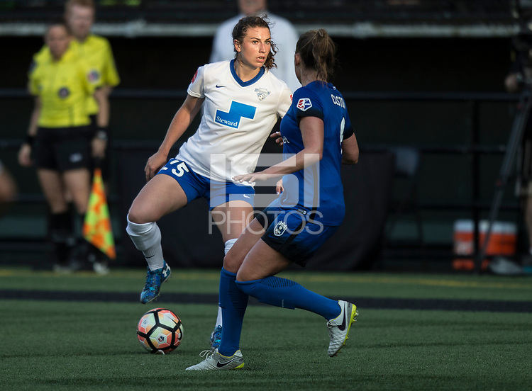 Seattle, WA - Saturday July 15, 2017: Morgan Andrews, Lindsay Elston during a regular season National Women's Soccer League (NWSL) match between the Seattle Reign FC and the Boston Breakers at Memorial Stadium.