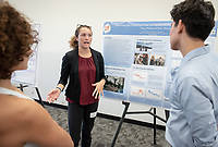 """Generating the Frequency of Past Earthquakes from Lake Sediment Cores in Grand Teton National Park, WY"" by Aria Blumm<br /> (Mentor: Darren Larsen, Geology)<br /> Occidental College's Undergraduate Research Center hosts their annual Summer Research Conference, Aug. 1, 2018. Student researchers presented their work as either oral or poster presentations at the final conference. The program lasts 10 weeks and involves independent research in all departments.<br /> (Photo by Marc Campos, Occidental College Photographer)"