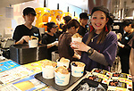 April 27, 2017, Tokyo, Japan - An employee of Taiwanese ice dessert shop Ice Monster prepares cups of ice dessert with a character of Japan's SNS giant LINE at a pop-up cafe and character goods shop featuring LINE's famous characters in Tokyo on Thursday, April 27, 2017. The Shinjuku Box, run by Mitsukoshi Isetan Transit, will open cafes of Taiwan's ice dessert shop Ice Monster and US chocolate shop Max Brenner using LINE characters and LINE's character goods shop from April 28 near Shinjuku station.   (Photo by Yoshio Tsunoda/AFLO) LwX -ytd-