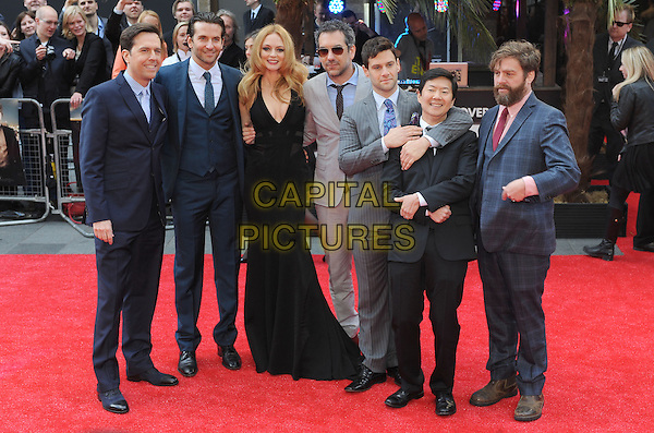 "Ed Helms, Bradley Cooper, Heather Graham, Todd Phillips, Justin Bartha, Ken Jeong and Zach Galifianakis.The European Premiere of ""The Hangover Part 3"", Empire Leicester Square, London, England..22nd May 2013.full length blue black grey gray suit dress check pinstripe beard facial hair sunglasses shades arms over shoulders.CAP/BEL.©Tom Belcher/Capital Pictures."