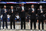 WINSTON-SALEM, NC - JANUARY 23: Wake Forest head coach Danny Manning (center) with his assistants (from left) Jamill Jones, Randolph Childress, Steve Woodberry, and Justin Bauman. The Wake Forest University Demon Deacons hosted the Duke University Blue Devils on January 23, 2018 at Lawrence Joel Veterans Memorial Coliseum in Winston-Salem, NC in a Division I men's college basketball game. Duke won the game 84-70.