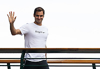 Roger Federer wearing his T-Shirt where the 'g' is turned into an 8 signalling his 8th Wimbledon victory<br /> <br /> Photographer Ashley Western/CameraSport<br /> <br /> Wimbledon Lawn Tennis Championships - Day 13 - Sunday 16th July 2017 -  All England Lawn Tennis and Croquet Club - Wimbledon - London - England<br /> <br /> World Copyright &copy; 2017 CameraSport. All rights reserved. 43 Linden Ave. Countesthorpe. Leicester. England. LE8 5PG - Tel: +44 (0) 116 277 4147 - admin@camerasport.com - www.camerasport.com