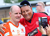 June 17th 2017, Gander Green Lane, Sutton, England; Football Charity Match; Chelsea Legends versus Rangers Legends; Rangers player Gordon Durie greets fans before kick off