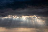 Sky, sun rays, sunburstand clouds during sunset, Manila Skyline, Philippines