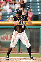 Tony Campana (6) of the Salt Lake Bees at bat against the Reno Aces in Pacific Coast League action at Smith's Ballpark on July 23, 2014 in Salt Lake City, Utah.  (Stephen Smith/Four Seam Images)