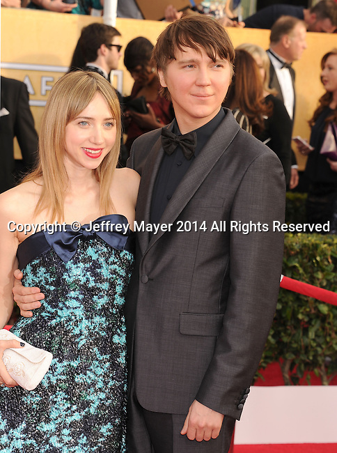 LOS ANGELES, CA- JANUARY 18: Actors Zoe Kazan (L) and Paul Dano arrive at the 20th Annual Screen Actors Guild Awards at The Shrine Auditorium on January 18, 2014 in Los Angeles, California.