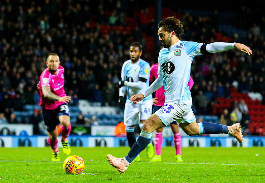 Blackburn Rovers' Bradley Dack scores the opening goal from the penalty spot<br /> <br /> Photographer Alex Dodd/CameraSport<br /> <br /> The EFL Sky Bet Championship - Blackburn Rovers v Queens Park Rangers - Saturday 3rd November 2018 - Ewood Park - Blackburn<br /> <br /> World Copyright © 2018 CameraSport. All rights reserved. 43 Linden Ave. Countesthorpe. Leicester. England. LE8 5PG - Tel: +44 (0) 116 277 4147 - admin@camerasport.com - www.camerasport.com