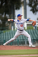 Sam Sheehan (23) of the Stockton Ports pitches against the Inland Empire 66ers at San Manuel Stadium on May 26, 2019 in San Bernardino, California. (Larry Goren/Four Seam Images)