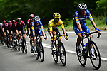 Deceuninck-Quick Step on the front of the peloton with race leader Julian Alaphilippe (FRA) Yellow Jersey during Stage 15 of the 2019 Tour de France running 185km from Limoux to Foix Prat d'Albis, France. 20th July 2019.<br /> Picture: ASO/Alex Broadway | Cyclefile<br /> All photos usage must carry mandatory copyright credit (© Cyclefile | ASO/Alex Broadway)