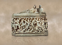 Roman relief sculpted sarcophagus depicting a scene with Dionysus made in a Greek Attica workshop, 3rd century AD, Perge Inv 1.35.99. Antalya Archaeology Museum, Turkey.<br /> <br /> The lid of the sarcophagus is sculpted into the form of a &ldquo;Kline&rdquo; style Roman couch on which lie Julianus &amp;  Philiska. This type of Sarcophagus is also known as a Sydemara Type of Tomb.. Against a warm art background.